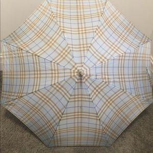 Authentic Burberry Blue Plaid Walking Umbrella